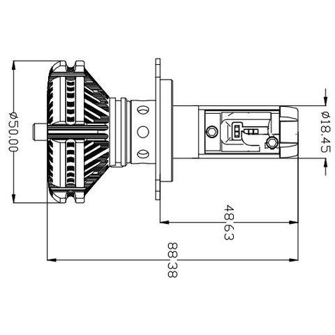 Набор светодиодного головного света UP-X3HL-H4W-6000LM (H4, 6000 лм, холодный белый) - Просмотр 2
