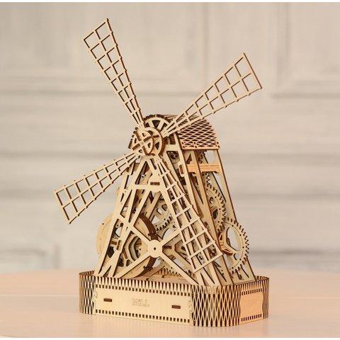 Деревянный механический 3D-пазл Wooden.City Мельница Превью 8